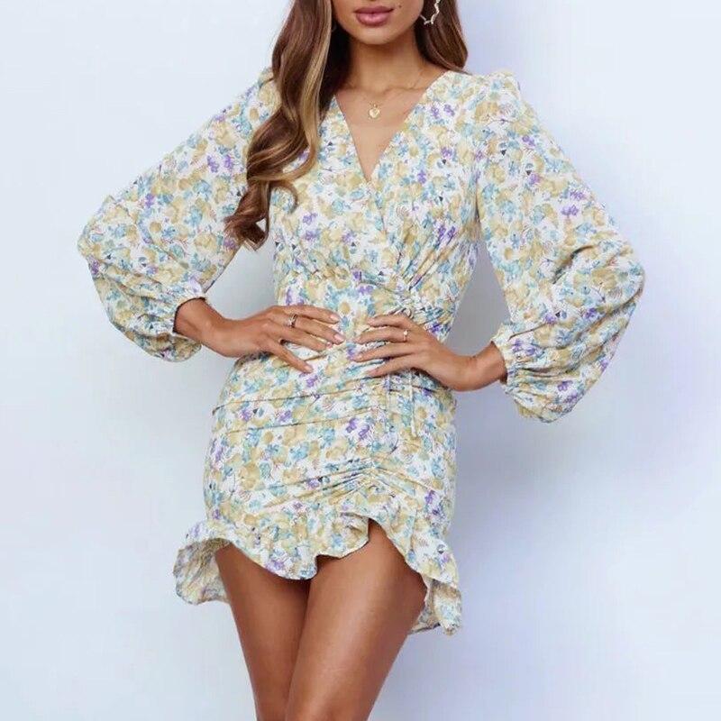 Autumn Vintage Floral Print Lantern Sleeve Boho Women Short Dress Fashion Ruffle Bodycon Party Dress 2021